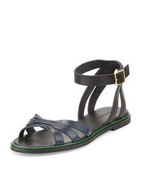 Navy Leather Flat Sandals