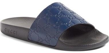f820df22e ... Navy Leather Flat Sandals Gucci Pursuit Logo Slide Sandal ...