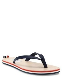 Thom Browne Leather Tricolor Stripe Flip Flops