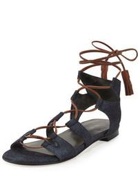 Stuart Weitzman Romanflat Denim Flat Gladiator Sandal Navy