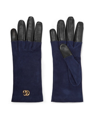 Gucci Viola Suede And Leather Gloves