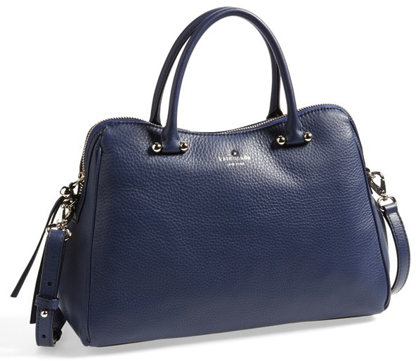 ... Navy Leather Handbags Kate Spade New York Charles Street Audrey Leather  Satchel e986c621c5