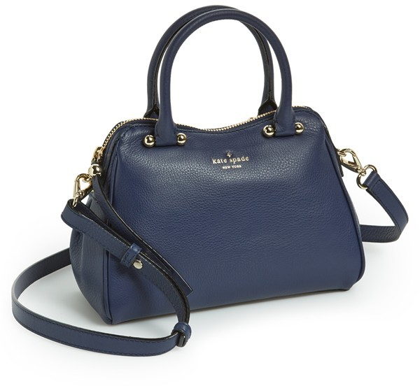 New York Charles Street Mini Audrey Leather Satchel. Navy Leather Handbag  by Kate Spade b964c07ef5