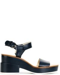 Jil Sander Navy Block Heel Sandals