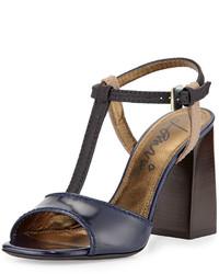Lanvin Colorblock Leather T Strap Sandal Blue