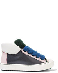 Fendi Fflynn Shearling Trimmed Leather Sneakers Petrol