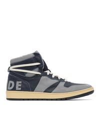 Rhude Grey And Navy Rhecess Town Hi Sneakers