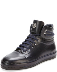 Stefano Ricci Leather High Top Sneaker Navy