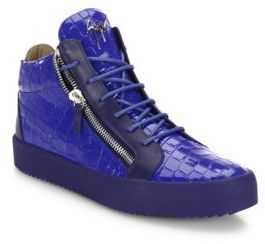 7228e74889f63 ... Saks Fifth Avenue › Giuseppe Zanotti › Navy Leather High Top Sneakers  Giuseppe Zanotti Leather Suede High Top Sneakers ...