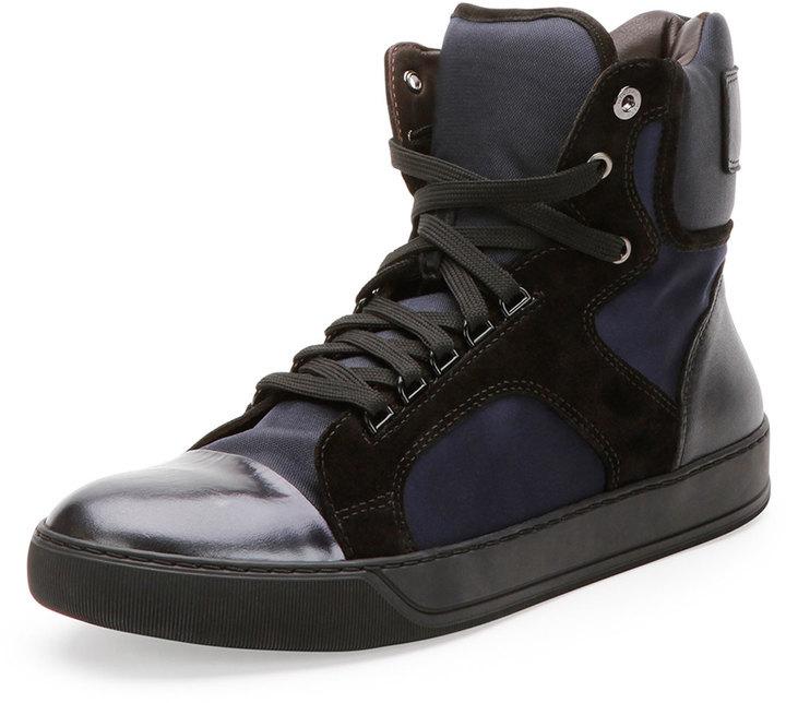Lanvin Mixed Media High Top Sneaker