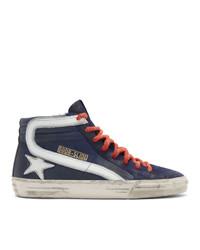 Golden Goose Navy Leather Slide Sneakers