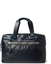 Navy Leather Holdall
