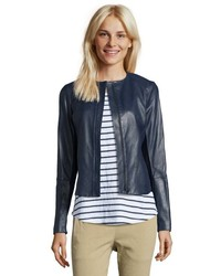 5b469a4f133 Vince Coastal Blue Leather Engineered Perforated Zip Front Jacket