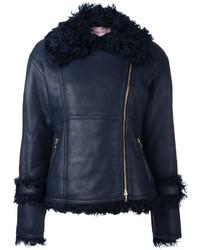 Lanvin Leather Fur Trim Jacket