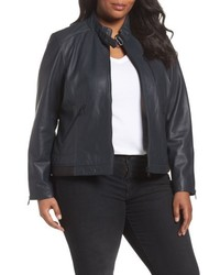 Plus size jetta knit detail leather scuba jacket medium 4951639