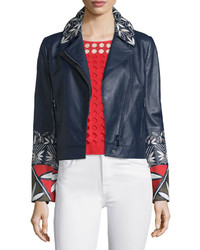 Tory Burch Pottery Embroidered Leather Moto Jacket Tory Navy