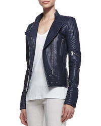 Womens Navy Leather Jacket