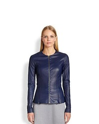 The Row Anasta Bonded Leather Jacket Imperial Blue