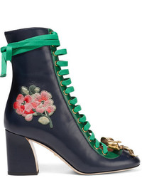 Gucci Embroidered Leather Lace Up Ankle Boots Navy
