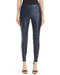 St. John Collection Stretch Nappa Leather Crop Leggings