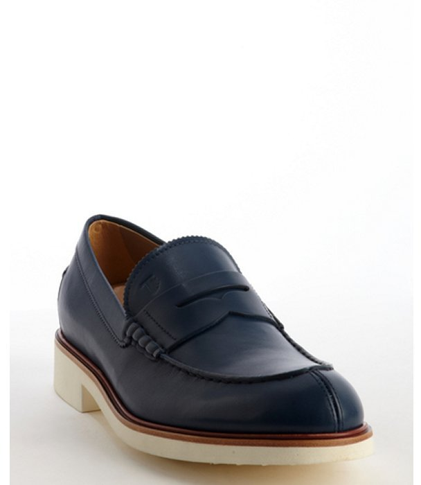 30137aaffc8 ... Navy Leather Loafers Tod s Blue Leather Slip On Penny Loafers