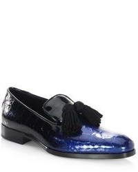 Jimmy Choo Foxley Glitter Patent Degrade Leather Loafers