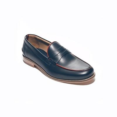 6e2590f648995 ... Navy Leather Loafers Tommy Hilfiger Leather Trim Detail Penny Loafers