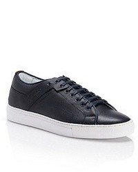 Navy Leather Low Top Sneakers