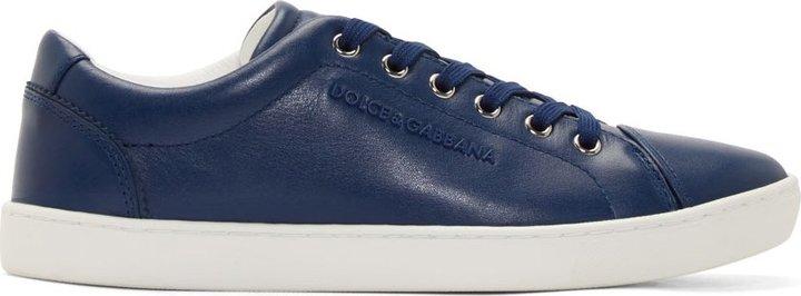 5ce76033c $495, Dolce & Gabbana Blue Leather New Ru Sneakers