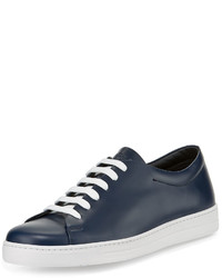 Calf leather low top sneaker blue medium 641168