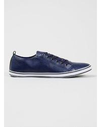 Topman Collider Navy Leather Look Sneakers