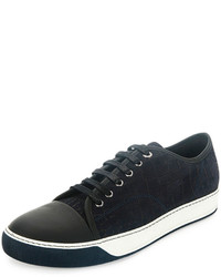 Lanvin Croc Embossed Low Top Sneaker Navy