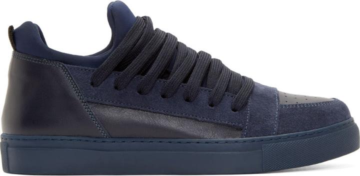 ... Kris Van Assche Krisvanassche Ssense Navy Suede Leather Skate Sneakers  ... e494b5ac9