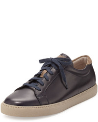 Brunello Cucinelli Leather Lace Up Low Top Sneaker Navy