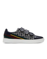 Etro Navy Stripe Logo Sneakers