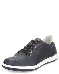 Giorgio Armani Perforated Leather Sneaker Navy