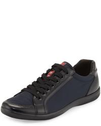 Prada Nylon And Spazzolato Low Top Sneaker Navy
