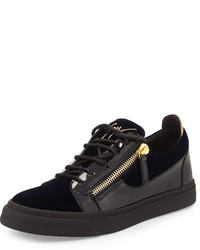 Giuseppe Zanotti Velvet Patent Leather Low Top Sneaker Navy