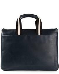 Navy Leather Messenger Bag