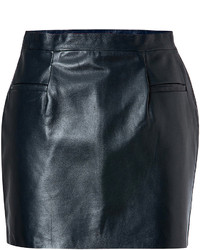 Navy Leather Mini Skirt