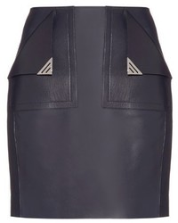 Thierry Mugler Mugler Front Pocket Leather Mini Skirt