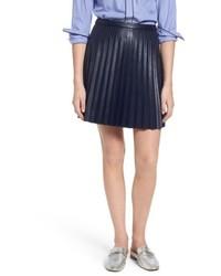 J.Crew Petite Pleat Faux Leather Miniskirt