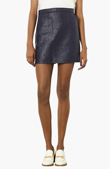 Topshop Moto Faux Crocodile Leather Front A Line Skirt Navy Blue ...