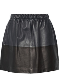 Vince Two Tone Leather Mini Skirt