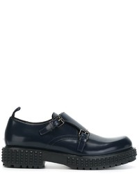 Navy Leather Monks
