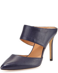 Halston Heritage Isabella Leather Pointed Toe Mule Navy