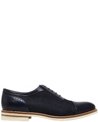 Francesco Benigno Brushed Leather Denim Lace Up Shoes