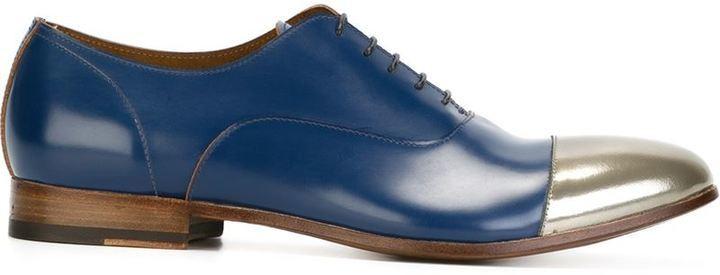 ... Navy Leather Oxford Shoes Raparo Metallic Cap Toe Oxford Shoes