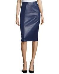 Leather pencil skirt navy medium 4984131