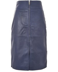Topshop Zip Front Leather Skirt